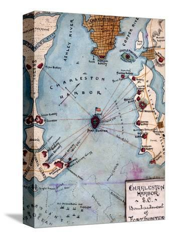 Fort Sumter On Us Map.Battle Of Fort Sumter Civil War Panoramic Map Stretched Canvas