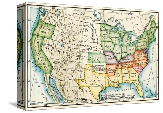 U.S. Map Showing Seceeding States by Date, American Civil War, c.1861