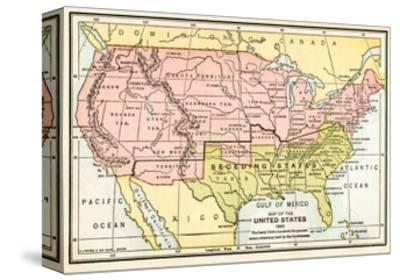 Map of the United States in 1861, at the Start of the Civil War