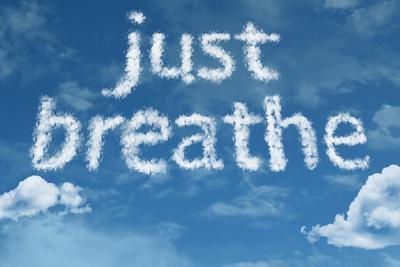 Amazing Just Breathe Text on Clouds