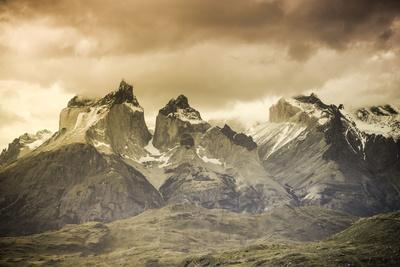 Chile, Patagonia, Torres Del Paine National Park, Cuernos Del Paine Peaks and Lake Pehoe