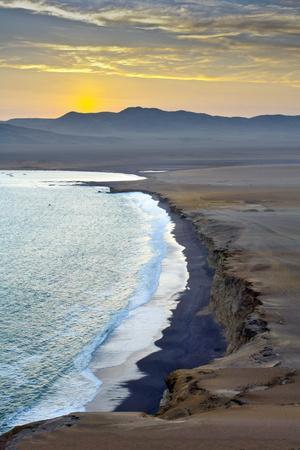 Peru, Paracas National Reserve, Lagunillas Bay, Sunset, Pacific Ocean, Ica Region
