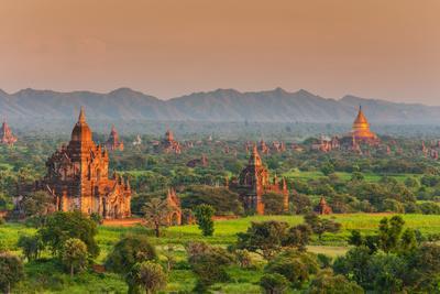 Panoramic View at Sunset over the Ancient Temples and Pagodas, Bagan, Myanmar or Burma
