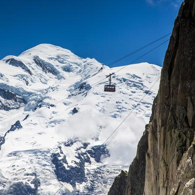 Cable Car in Front of Mt. Blanc from Mt. Brevent, Chamonix, Haute Savoie, Rhone Alpes, France