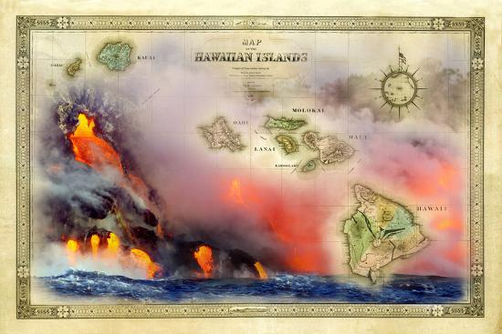 A 1876 Centennial Map Of The Hawaiian Islands With Artwork Of A Lava
