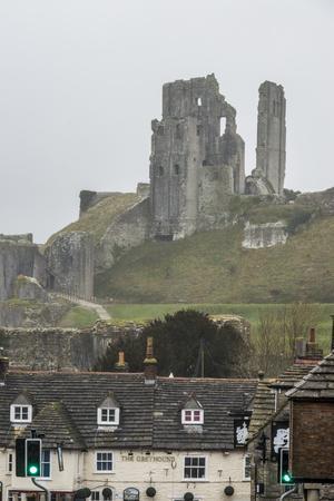 The Ruins of Corfe Castle Above Corfe, Dorset, England