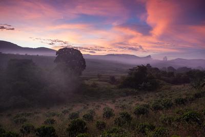 Farmland in Chapada Diamantina National Park with Mist from Cachaca Smoke at Sunset