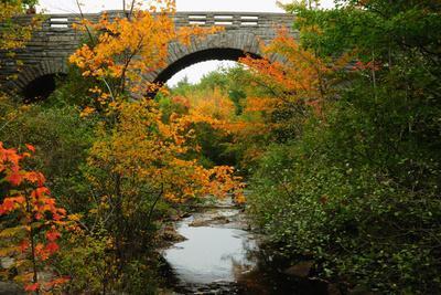 Carriage Road Bridge at Duck Brook in Acadia National Park
