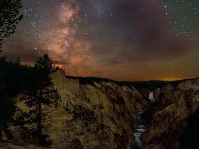 The Milky Way over Lower Yellowstone Falls and the Yellowstone River