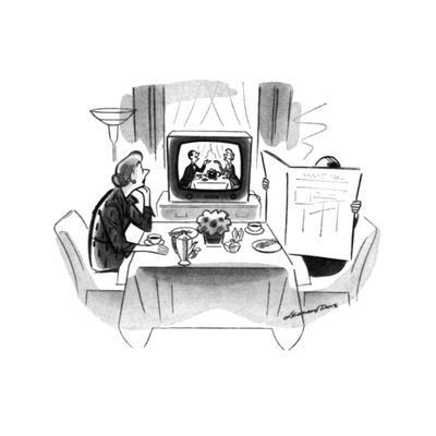 Woman sitting art breakfast table with husband hidden behind newspaper. Sh… - New Yorker Cartoon