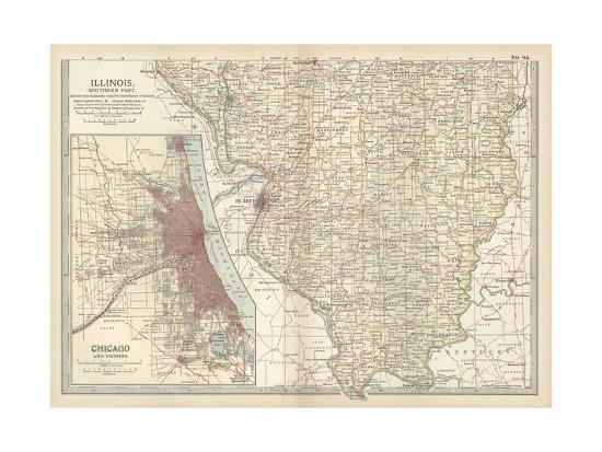 Map Of Southern Illinois Prints At Allposters Com