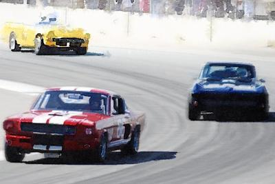 Mustang and Corvette Racing Watercolor