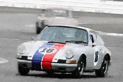 Porsche 911 Race in Monterey Watercolor