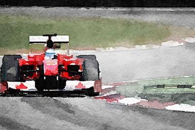 Ferrari F1 on Track Watercolor