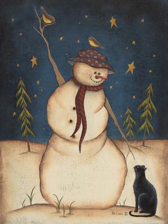 Snowman with Black Cat