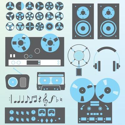 Vector Set: Retro Style Music Recording Equipment