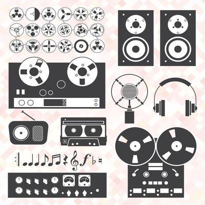 Vector Set: Retro Music Recording Equipment Objects