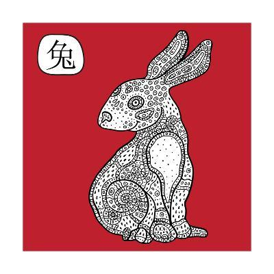 Chinese Zodiac. Animal Astrological Sign. Rabbit.
