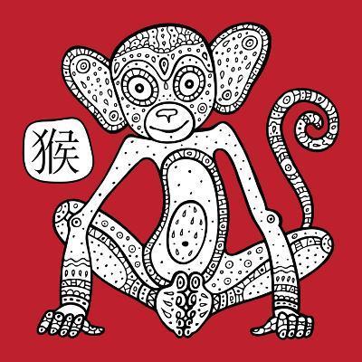 Chinese Zodiac. Animal Astrological Sign. Monkey.