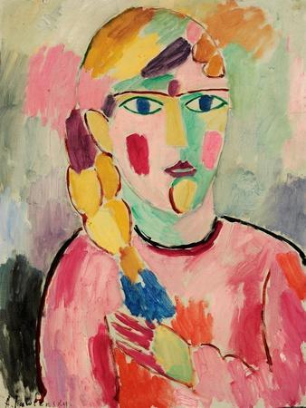 Girl with Blue Eyes and a Plait (Maedchen Mit Blauen Augen Und Einem Zopf), C. 1916