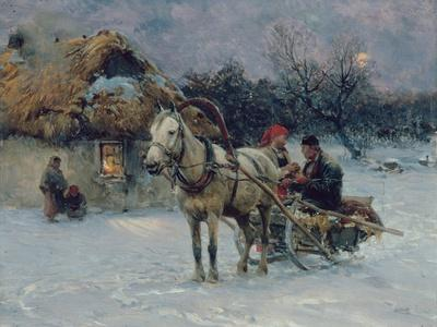 Polish Winter Landscape with Sleds