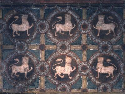 Fresco of Lions on Decorative Ground, 11th C