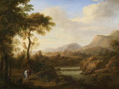 Classical River Landscape with Cattle and Figures