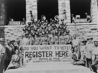 African Americans Encouraging Voter Registration at an Unidentified College Campus in 1948