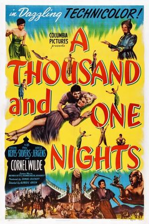 A Thousand and One Nights, Center: Cornel Wilde, Adele Jergens, Top Right: Phil Silvers, 1945