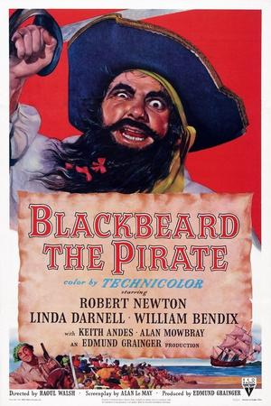 Blackbeard the Pirate, Top: Robert Newton; Bottom Left: William Bendix, 1952