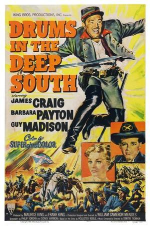 Drums in the Deep South, from Top: James Craig, Barbara Payton, Guy Madison, 1951