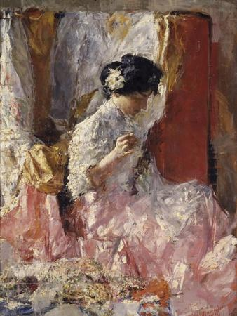 Girl Sewing (Elegantly Dressed Woman Sews in an Interior)