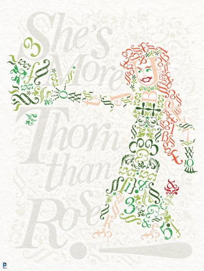 Batman Poison Ivy Drawn Out In Words Letters And Symbols With Writing In The Background