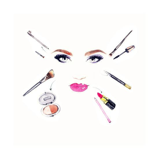 Makeup Artist. Woman Portrait .Fashion Background Prints