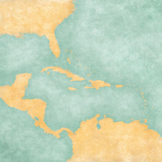 Map of Caribbean - Blank Map (Vintage Series) Poster by Tindo at ...