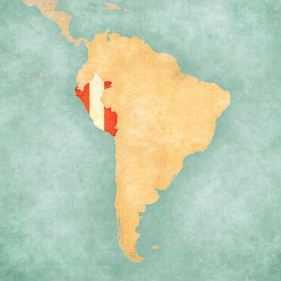 Map of South America - Peru (Vintage Series)