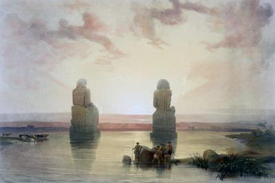 The Colossi of Memnon, at Thebes, During the Inundation, 19th Century