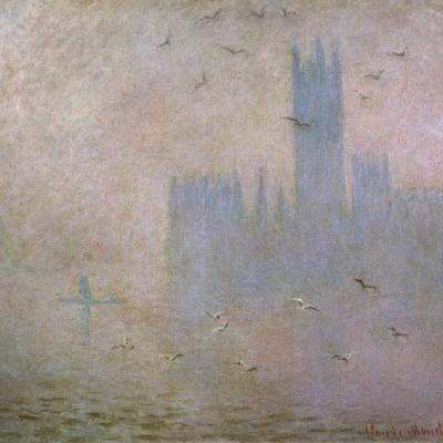 Seagulls, the Thames in London, the Houses of Parliament, 1903-1904