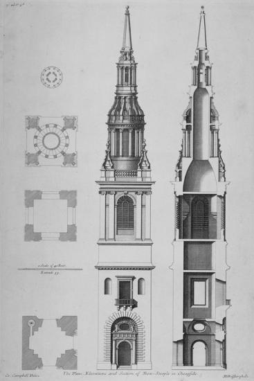 plans elevations and section of the church of st mary le bow