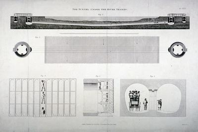 Plan, Sections and Elevations of the Thames Tunnel, London, 1835