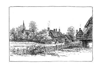 Luddington Village and New Church, Warwickshire, 1885