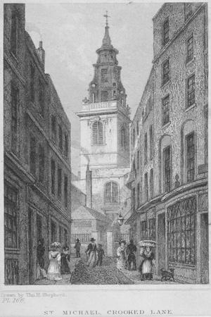 Church of St Michael, Crooked Lane, City of London, 1831