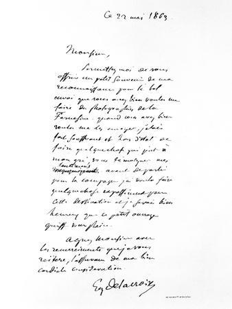 Letter Signed by Eugene Delacroix, French Romantic Artist, 1863