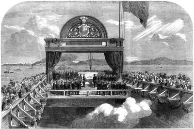 The Prince of Wales Laying the Last Stone of the Victoria Bridge over the St Lawrence River, 1860