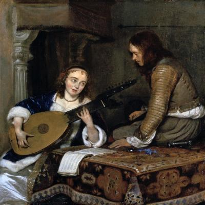 A Woman Playing the Theorbo-Lute and a Cavalier, C1658