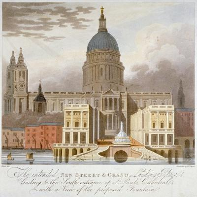 Proposed Riverfront Access to St Paul's Cathedral, City of London, 1826