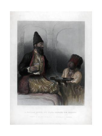 A Persian Prince, His Slave Bringing Him Sherbet, 19th Century