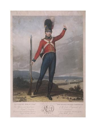 Military Figure Wearing the Uniform of the First Regiment of Loyal London Volunteers, 1797
