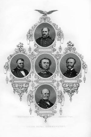 Union Civil War Admirals Winslow, Goldsborough, Du Pont, Dahlgren and Stringham, 1862-1867