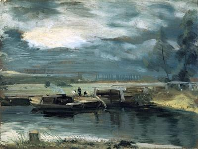 Barges on the Stour, with Dedham Church in the Distance, 1811